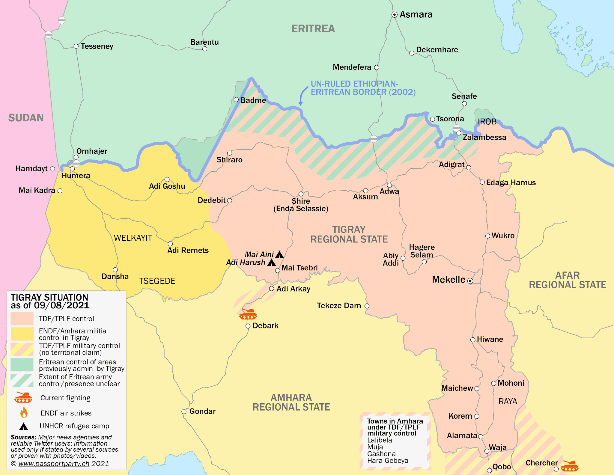Tigray control map: Rough illustration of territorial control in Ethiopia's Tigray war as known August 9, 2021, showing which areas have been retaken by Tigrayan rebels both inside and outside of the Tigray regional state. By Daniel of Passport Party.