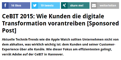 Native Advertising bei t3n.de.