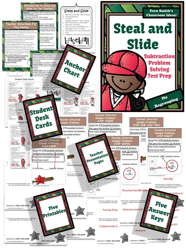 Fern Smith's Classroom Ideas Just Published Test Prep Baseball's Steal and Slide Method - Subtraction No Regrouping