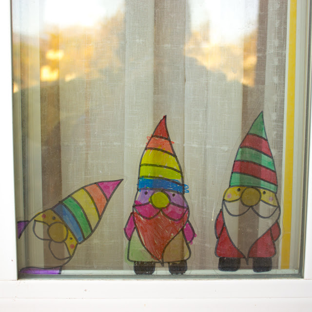 Easy Recycled Gnome Suncatcher Kids Craft for winter holidays