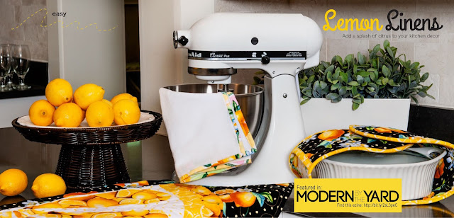 DIY kitchen items to sew - kitchen towels, tea towels, double oven mitt, lemon quilt table topper