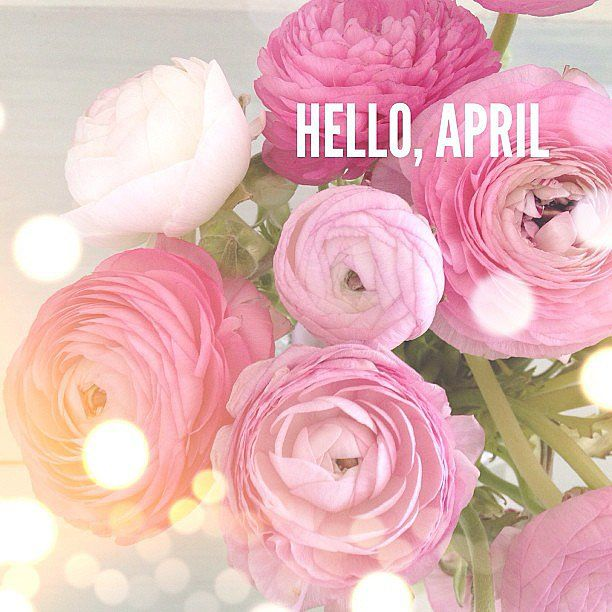 Hello, April card with beautiful pink peonies