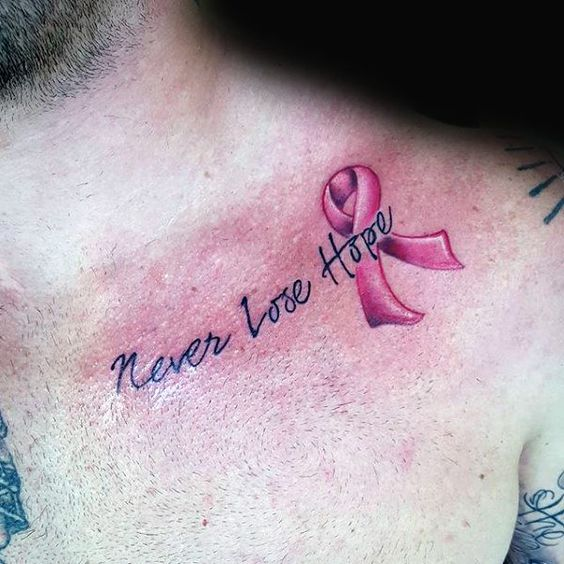 Quote + Cancer Ribbon Tattoo on Chest