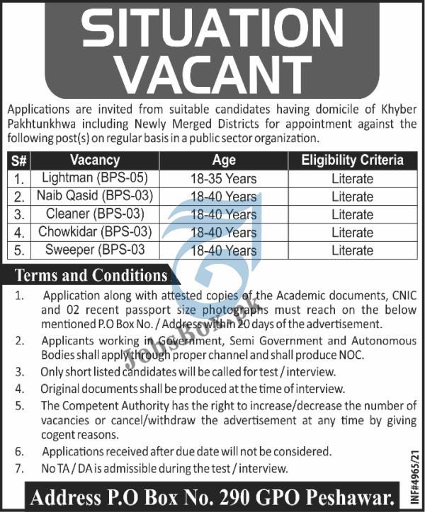 Public Sector Organization Peshawar Jobs 2021 – PO Box 290 Peshawar