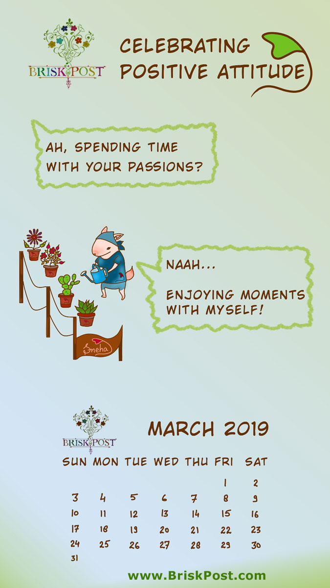 march 2019 calendar with speaking cat cartoon illustration and pink-white background;  calendar message: Today is my favorite day. Let's celebrate!;  calendar type: mobile wallpaper;  cartoon calendar template: celebrating positive attitude