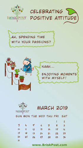 march 2019 calendar with enjoying passionate speaking mouse cartoon illustration with blue green background and message, spend time with your passion, indeed enjoy moments with yourself