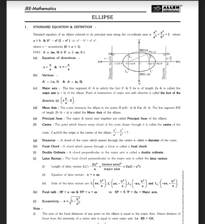 Allen Mathematics assignment For JEE MAINS And Advance