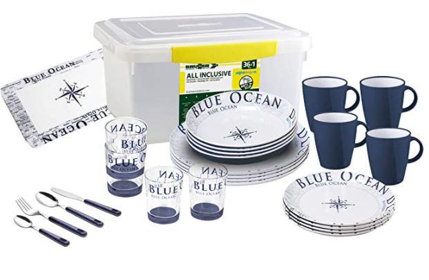 Kit piatti, posate e bicchieri per camper della Brunner