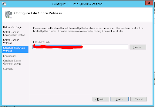 Quorum Configuration - File Share Witness Configuration