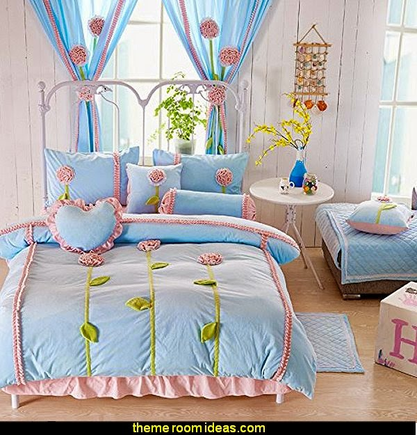 Dandelion 3d Bedding Set Blue,Kids Unique Flannel Ruffle Duvet Cover,Princess Vintage