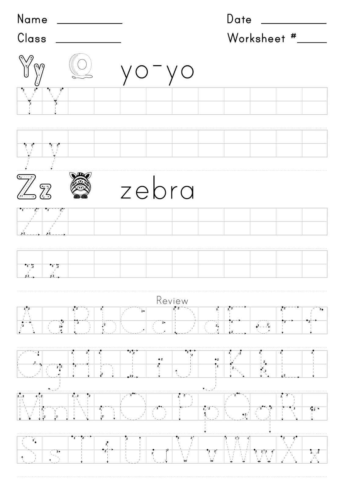 Worksheet For Writing The Letters Y And Z
