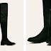 Cizme inalte peste genunchi din piele eco intoarsa negre
