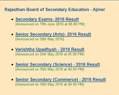 Previous Year Result Dates - 10th / 12th 2016 Results Dates