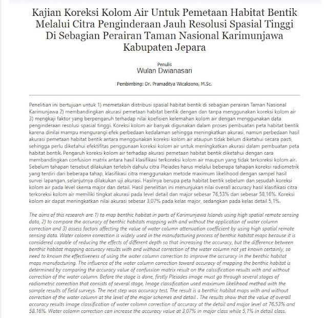 Kajian Koreksi Kolom Air Untuk Pemetaan Habitat Bentik Melalui Citra Penginderaan Jauh [PAPER]