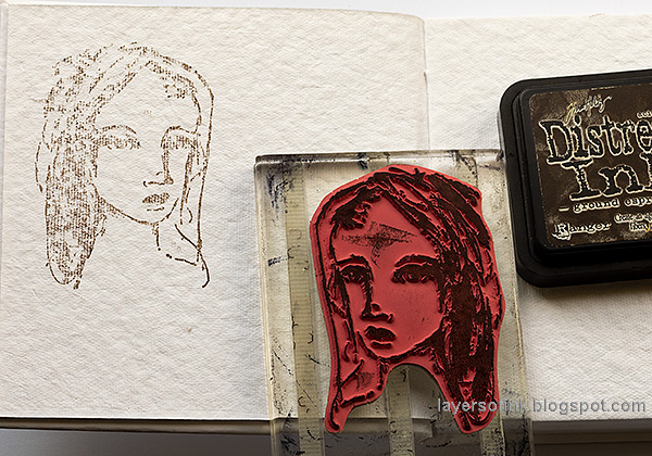 Layers of ink - Pastel Journal Page Tutorial by Anna-Karin Evaldsson. Stamp in the journal.