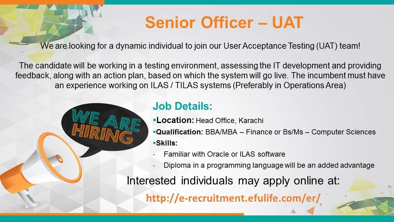 Senior Officer-UAT Apply Online 2017 - JOBS 4 U