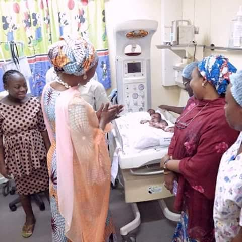 Photos: Wife of the Senate President, Toyin Saraki visits parents of quintuplets in Abuja