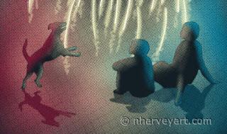 """Simple Celebration"" digital art, people dog watching fireworks Closeup"