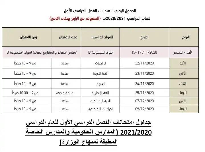 جداول امتحانات الفصل الدراسي الأول للعام الدراسي 2020-2021