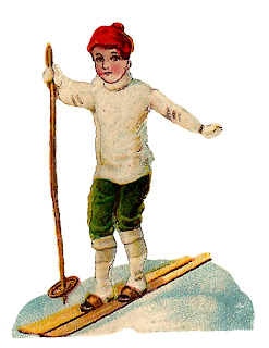 skiing boy child image snow winter clipart illustration vintage