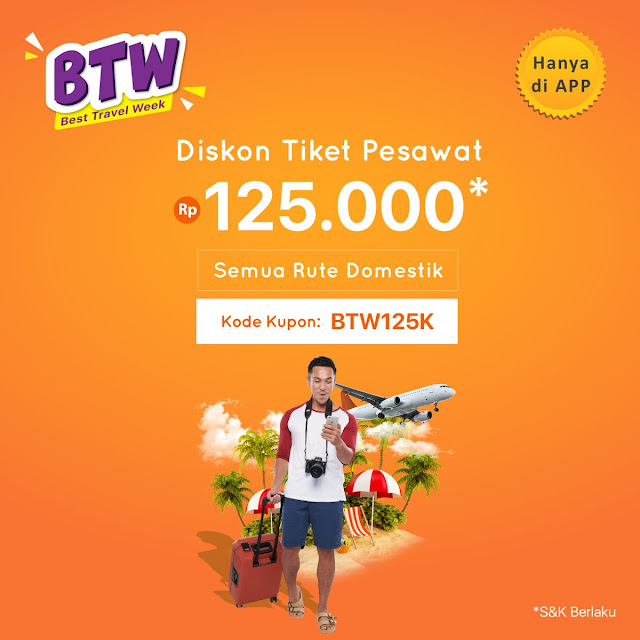 #PegiPegi - #Promo Voucher Best Travel Week Diskon Tiket Pesawat Hingga 125K (s.d 05 April 2019)