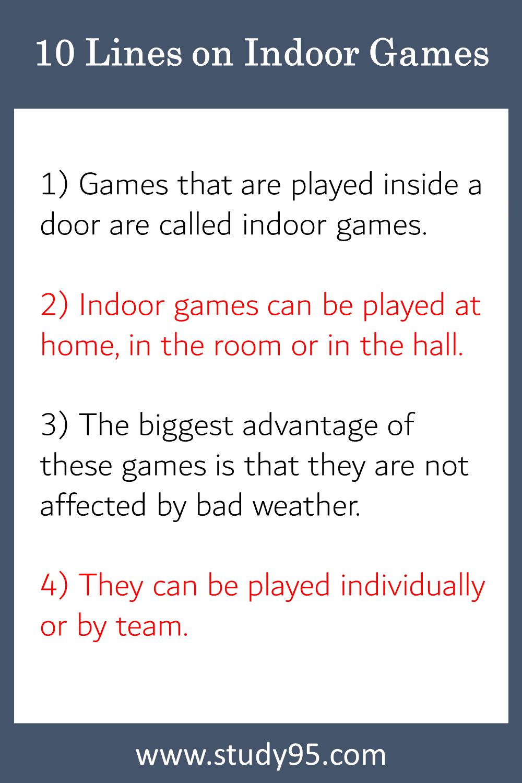 Few Lines on Indoor Games