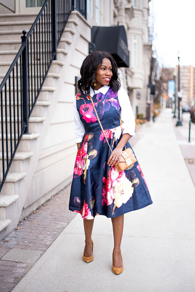 Floral Midi Dress, Toronto Blogger