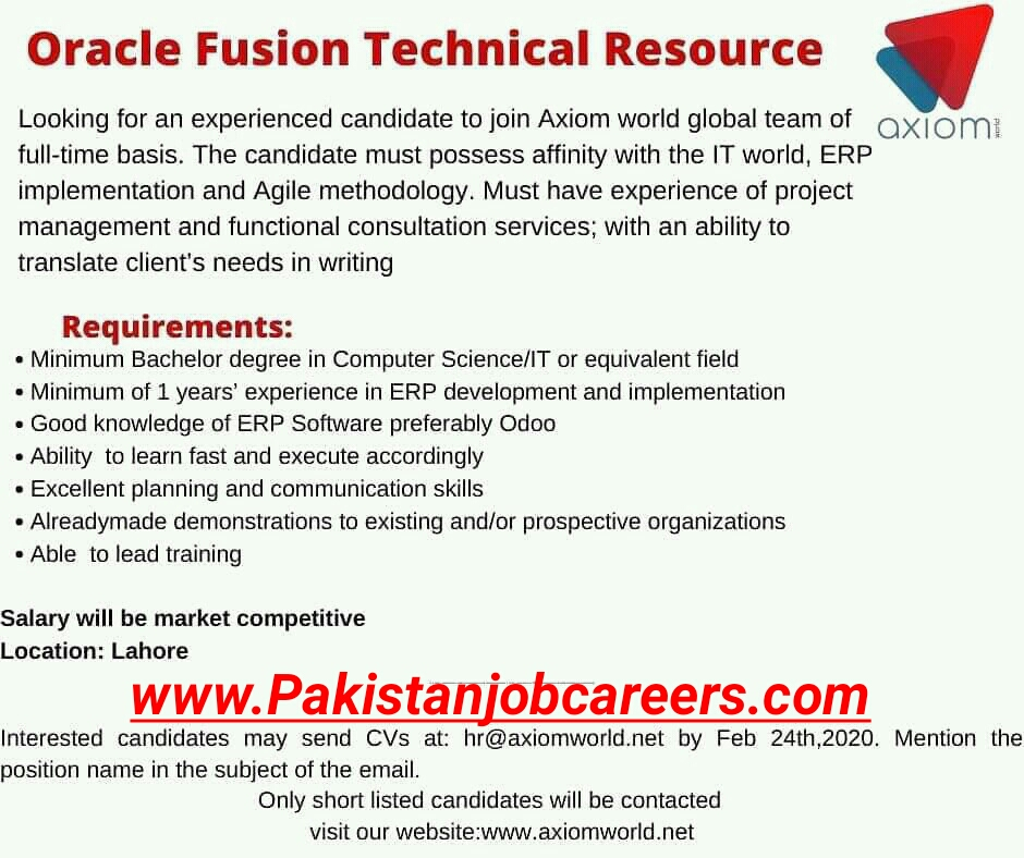 Axiomi Jobs 2020 For Oracle Technical Resource Latest