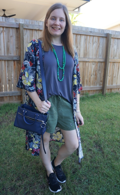 olive and grey shorts and tee outfit with tropical print floral duster kimono and sneakers | away from blue