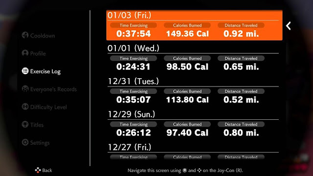 Ring Fit Adventure week world 8 exercise log times
