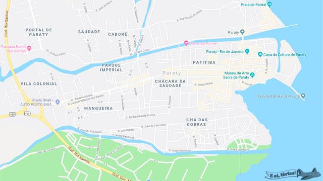 Mapa de Paraty, RJ.