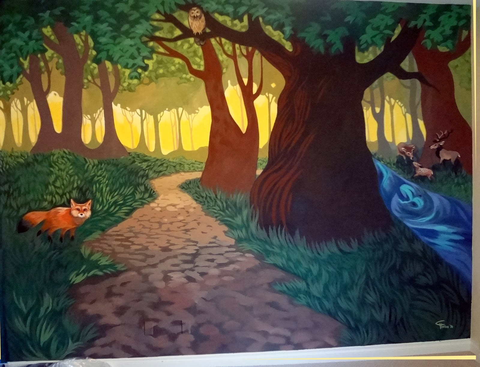 whimsical forest mural, tree mural nursery, forest mural kids room, forest mural nursery