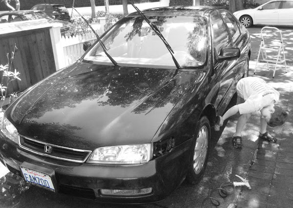 Child washing FamZoo car