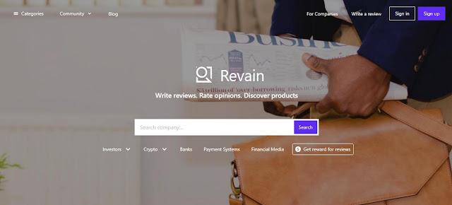 Screenshot Website Revain (REV) Cryptocurrency
