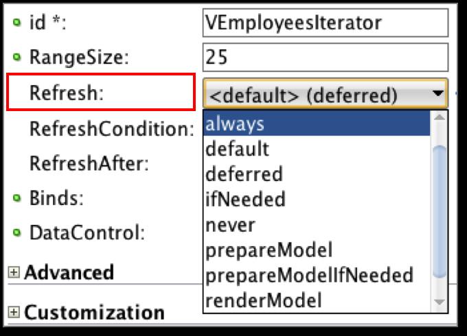ADF Practice: Understanding Iterator Binding Refresh Attribute
