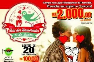Promoção ACIG Guaíra Dia dos Namorados 2019 - 2 Mil Reais Prêmios