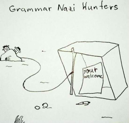 Funny Grammar Nazi Hunters Cartoon Picture