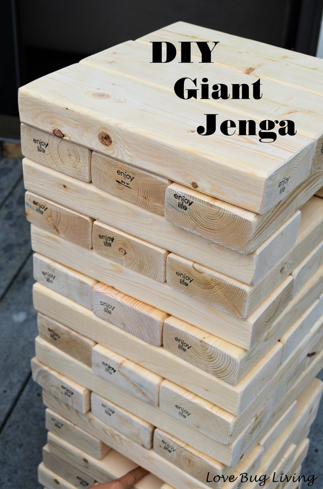 Love Bug Living Diy Giant Jenga Game