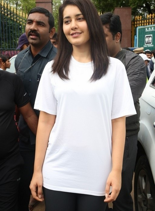Rashi Khanna long hair in white dress