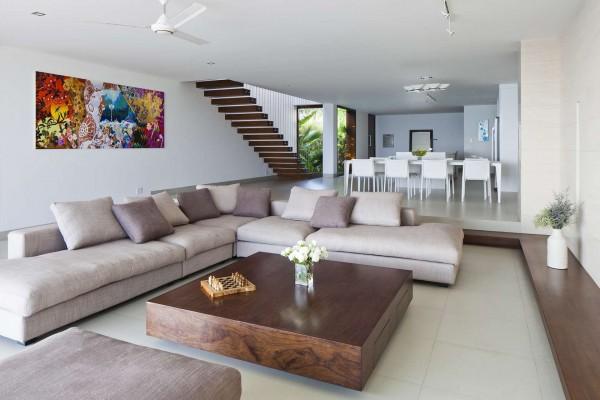 ruang tamu desain villa mewah