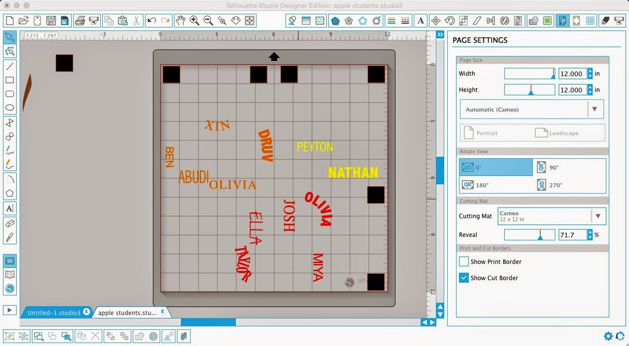 Silhouette Studio, Silhouette tutorial, layering vinyl, vinyl, page settings, reveal cutting mat