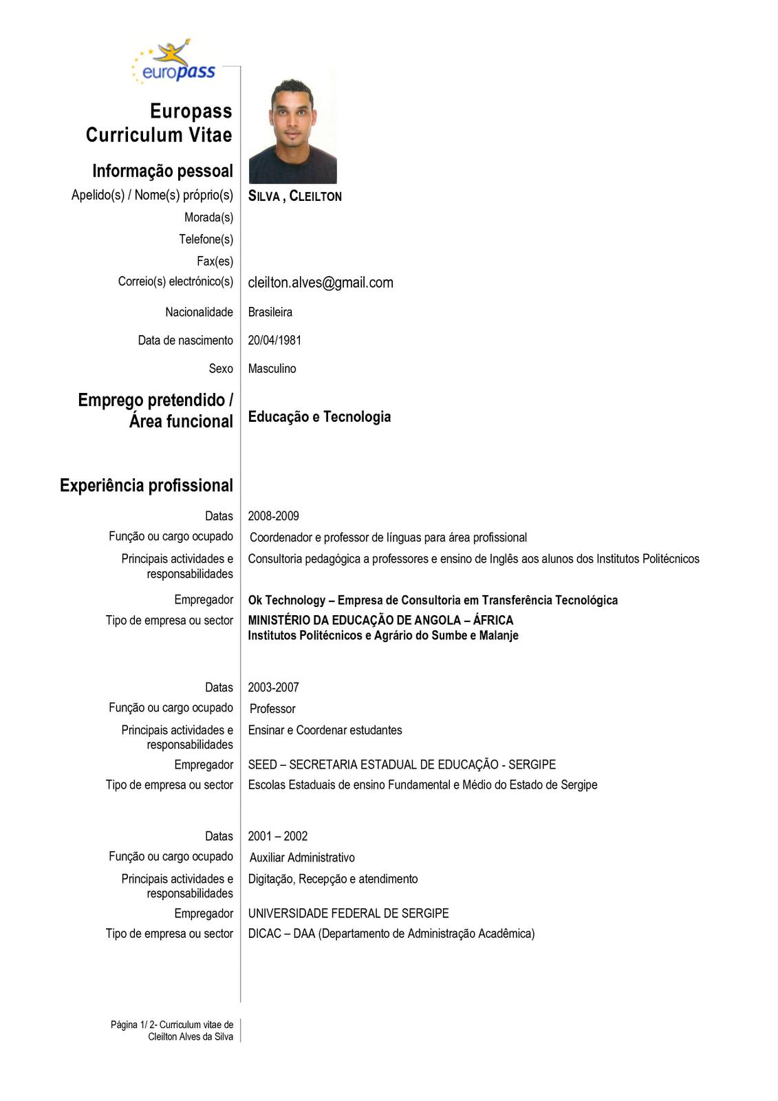 curriculum vitae europeo pdf gratis