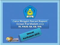 Cara Mengisi Narasi Raport TK Sesuai Kurikulum 2013