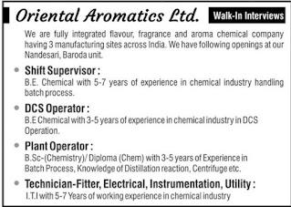 Oriental Aromatics Ltd Recruitment For Technician Fitter, Electrical, Instrumentation, Utility, Plant &  DCS Operator For Gujarat Unit