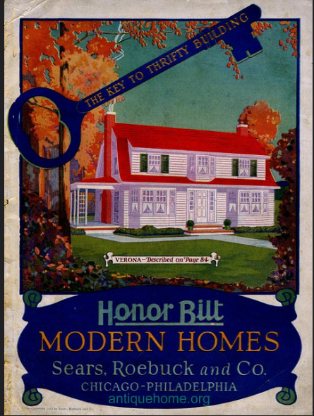 front of 1923 Sears Honor Bilt Modern Homes catalog, vibrant blues, greens, orange, yellow, Sears Verona model pictured in white