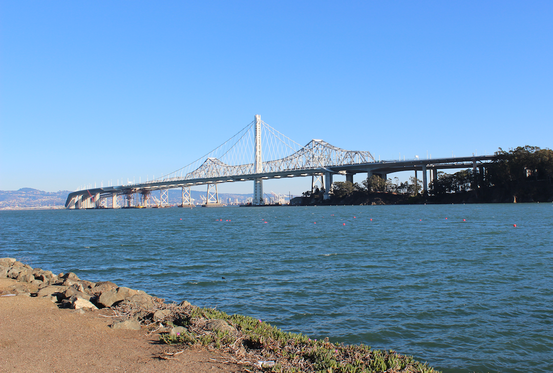 Old and new Bay Bridge side by side