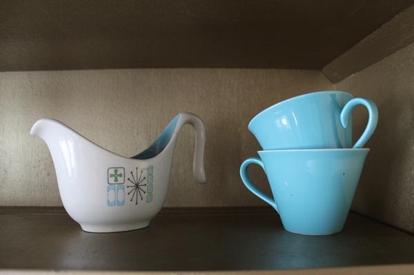 vintage aqua blue tea cups and mid century cathay china creamer dish