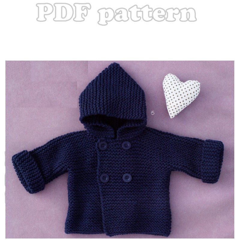 5d7cacd0ea43 Easy Garter Stitch Baby Hooded Coat ENGLISH Knitting Pattern PDF ...