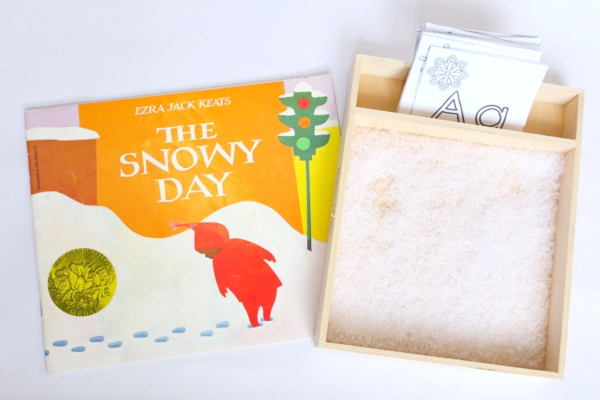 snowy day sensory tray