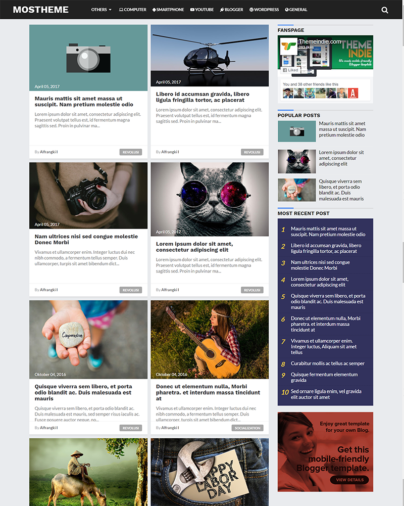 Mostheme - Clean, High CTR and Responsive Blogger Template